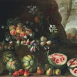 """""""Watermelons, Peaches, Pears and Other Fruits in a Landscape"""" by Giovanni Stanchi (1645)"""