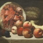"""""""A Still LIfe with Watermelons and Peaches"""" by Alvin Fisher (18th-century)"""