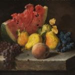 """""""Still Life with Watermelons, Pears, and Grapes"""" by Lilly Martin Spencer (1860)"""